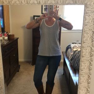 Old Navy Black and White Striped Tank